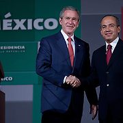 President George W. Bush and the President of Mexico Felipe Calderon hold a joint news conference Wednesday, March 14, 2007.  <br /> <br /> Photo by Khue Bui
