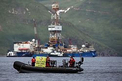 USA ALASKA DUTCH HARBOR 5AUG12 - Greenpeace boat crew protest at Shell drill ship Noble Discoverer anchored near Dutch Harbor, Unalaska, Alaska.....Photo by Jiri Rezac / Greenpeace....© Jiri Rezac / Greenpeace