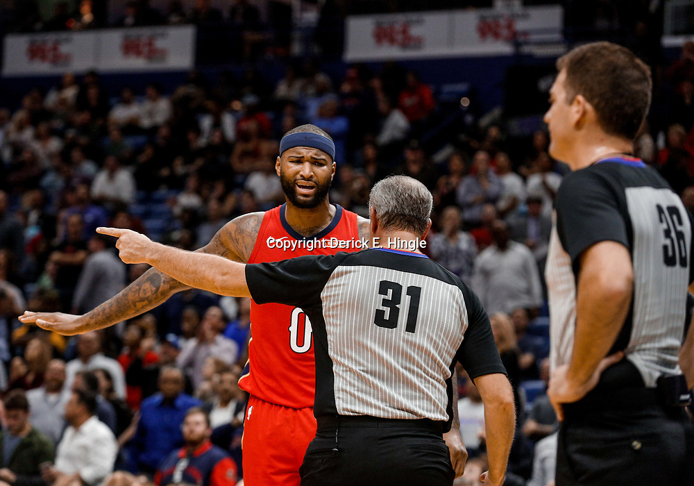 Nov 29, 2017; New Orleans, LA, USA; New Orleans Pelicans center DeMarcus Cousins (0) argues with official Scott Wall during the second quarter against the Minnesota Timberwolves at the Smoothie King Center. Mandatory Credit: Derick E. Hingle-USA TODAY Sports