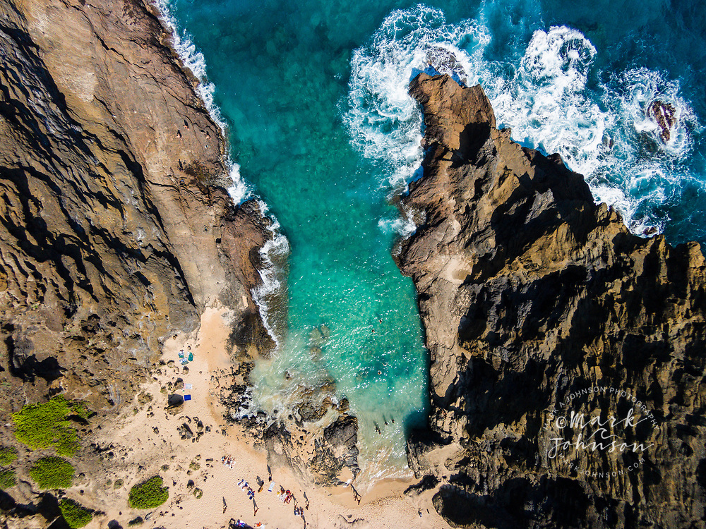 Aerial photograph looking straight down at Halona Cove, Southeast Oahu Coast, Hawaii