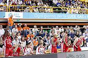 Esultanza panchina Armani Milano, GERMANI BASKET BRESCIA vs EA7 EMPORIO ARMANI OLIMPIA MILANO, 27^ giornata Campionato Lega Basket Serie A, PalaGeorge Montichiari (BS) 22 aprile 2018 - FOTO Bertani/Ciamillo