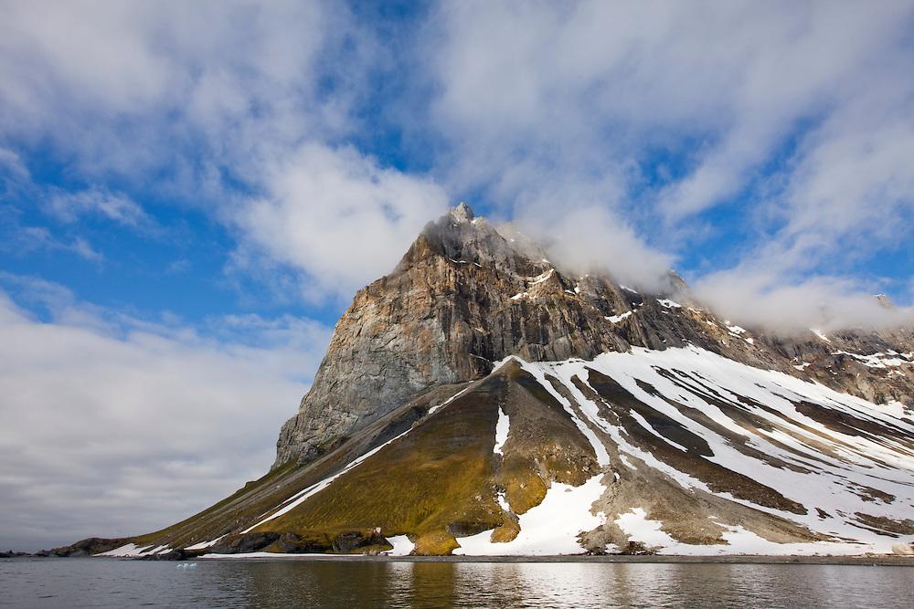 Norway, Svalbard, Spitsbergen Island, Mountain peak at entrance to Hornsund
