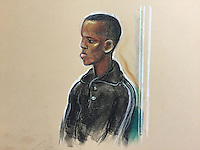 """Abdullah Ahmed Jama Farah,<br /> A student with a """"radical belief in violent jihad"""" created a """"hub of communication"""" to help """"like-minded"""" men travel to fight, a jury has heard.<br /> Abdullahi Ahmed Jama Farah, of South Grove, Manchester, had helped a man go to Syria, prosecutor Gareth Patterson told London's Old Bailey. Herewith a court drawing of the defendant."""