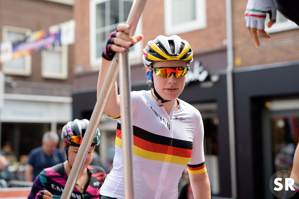 Mieke Kröger (CANYON//SRAM Racing) makes her way up the steps to sign in at the 116 km Stage 5 of the Boels Ladies Tour 2016 on 3rd September 2016 in Tiel, Netherlands. (Photo by Sean Robinson/Velofocus).