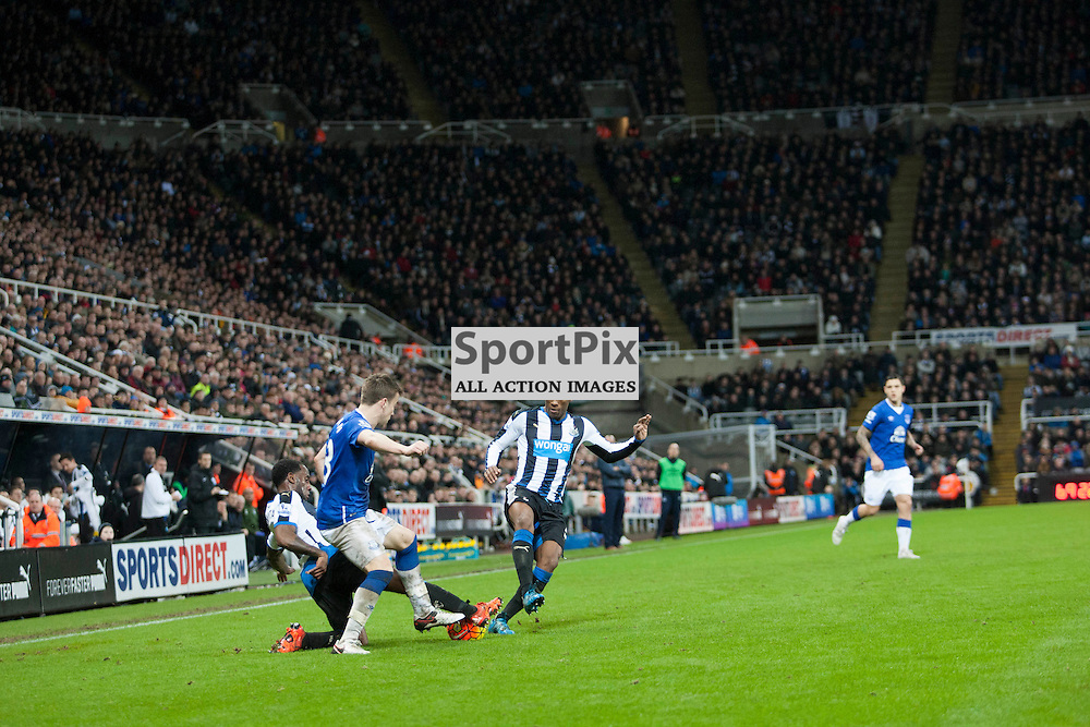 Vurnon Anita wins a tackle in the Newcastle v Everton 26 December 2015<br />