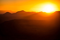 Sunset over the Karoo mountain range, Mount Camdeboo, Eastern Cape, South Africa