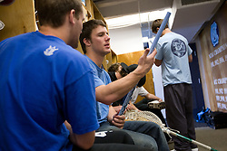 04 April 2008: North Carolina Tar Heels men's lacrosse defenseman Sean Jackson (33) in the locker room before practice in Chapel Hill, NC.