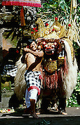 "Batubulan. The Barong, a lion-like creature, ""good"" opponent to the ""evil"" Rangda, the widow-witch. The Barong works its magic to prevent one of its suppporters to be harmed by his kris (dagger), with which he tries to stab himself under Rangda's spell."