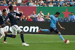 September 5, 2018 - Bronx, New York, United States - New York City defender RONALD MATARRITA #22 attempts a shot on goal during a regular season match at Yankee Stadium in Bronx, NY.  New England Revolution defeats New York City FC 1 to 0 (Credit Image: © Mark Smith/ZUMA Wire)
