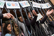 London, 3rd April 2016: Campaigners protesting the closure by Lambeth council of Carnegie Library in Herne Hill, south London remain inside the premises on day 3 of its occupation, 3rd April 2016. The angry local community in the south London borough have occupied their important resource for learning and social hub for the weekend. After a long campaign by locals, Lambeth have gone ahead and closed the library's doors for the last time because they say, cuts to their budget mean millions must be saved. A gym will replace the working library and while some of the 20,000 books on shelves will remain, no librarians will be present to administer it.