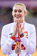 Great Britain, London - 2017 August 12: Kamila Licwinko (Podlasie Bialystok) of Poland celebrates bronze medal in women's high jump while awarding ceremony during IAAF World Championships London 2017 Day 9 at London Stadium on August 12, 2017 in London, Great Britain.<br /> <br /> Mandatory credit:<br /> Photo by © Adam Nurkiewicz<br /> <br /> Adam Nurkiewicz declares that he has no rights to the image of people at the photographs of his authorship.<br /> <br /> Picture also available in RAW (NEF) or TIFF format on special request.<br /> <br /> Any editorial, commercial or promotional use requires written permission from the author of image.