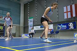 Spela Silvester of Slovenia with Lene Clausen of Denmark in women doubles during match Slovenia Open Badminton tournament 2012, on May 12, 2012, in Medvode, Slovenia. (Photo by Grega Valancic / Sportida.com)