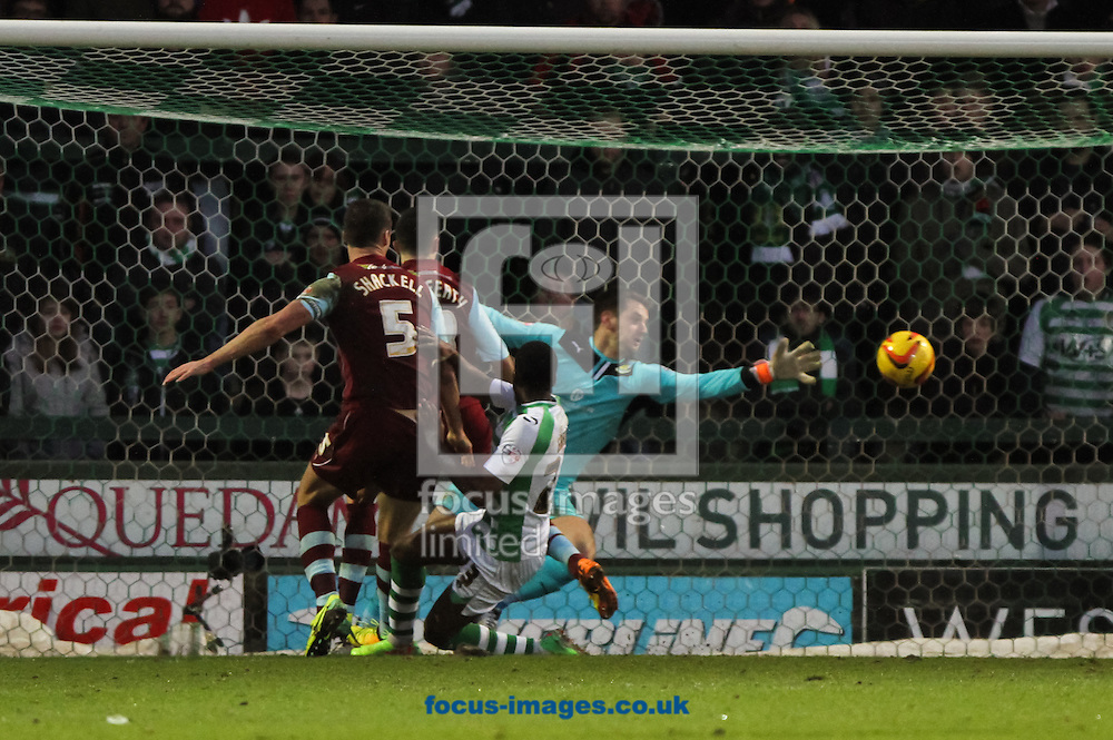 Picture by Tom Smith/Focus Images Ltd 07545141164<br /> 11/01/2014<br /> Kieffer Moore (out of picture) of Yeovil Town scores his sides first goal during the Sky Bet Championship match at Huish Park, Yeovil.