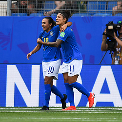 Cristiane of Brazil celebrates his scoring with Marta of Brazil during the Women's World Cup match between Australia and Brazil at Stade de la Mosson on June 13, 2019 in Montpellier, France. (Photo by Alexandre Dimou/Icon Sport)