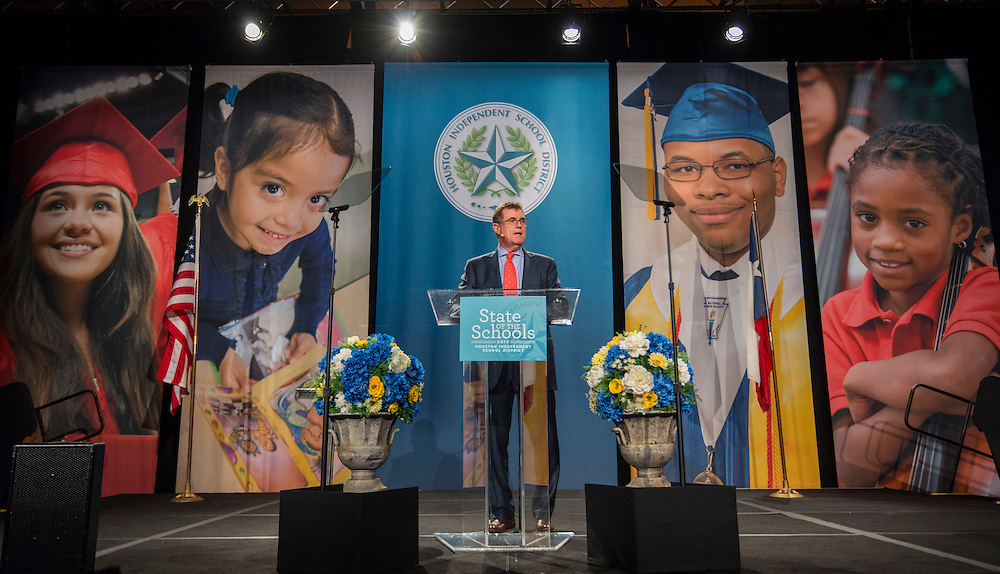 Houston ISD Superintendent Dr. Terry Grier comments during the State of the Schools luncheon, February 11, 2015.