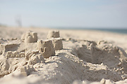 A sand castle that dodged a beach comber's tires, Nauset Beach, Cape Cod National Seashore, Orleans, Massachusetts.