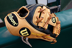 OAKLAND, CA - JULY 22:  Detailed view of a Wilson baseball glove belonging to Marwin Gonzalez (not pictured) of the Houston Astros before the game against the Oakland Athletics at O.co Coliseum on July 22, 2014 in Oakland, California. The Houston Astros defeated the Oakland Athletics 3-2 in 12 innings.  (Photo by Jason O. Watson/Getty Images) *** Local Caption ***