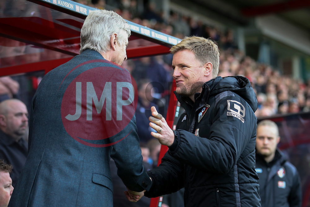 Bournemouth Manager Eddie Howe greets Arsenal Manager Arsene Wenger - Mandatory by-line: Jason Brown/JMP - Mobile 07966 386802 07/02/2016 - SPORT - FOOTBALL - Bournemouth, Vitality Stadium - AFC Bournemouth v Arsenal - Barclays Premier League