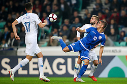 Miha Mevlja of Slovenia, Pieros Sotiriou of Cyprus and Nejc Skubic of Slovenia during football match between National Teams of Slovenia and Cyprus in Final Tournament of UEFA Nations League 2019, on October 16, 2018 in SRC Stozice, Ljubljana, Slovenia. Photo by  Morgan Kristan / Sportida