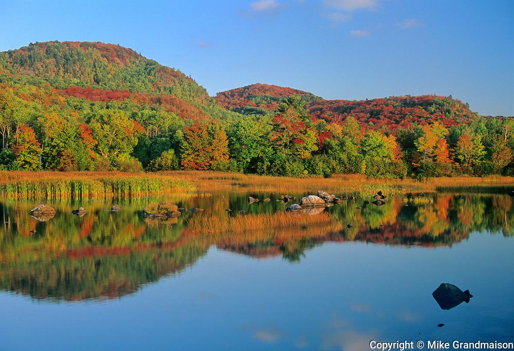 Autumn reflection on North Shore of Lake Superior<br /> Goulais River<br /> Ontario<br /> Canada