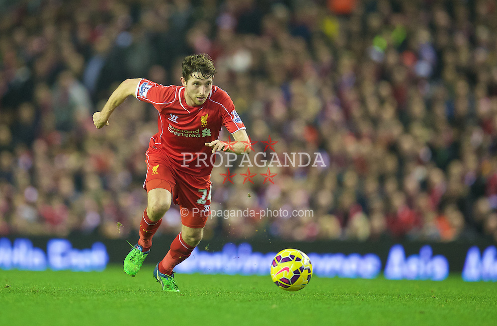 LIVERPOOL, ENGLAND - Saturday, November 29, 2014: Liverpool's Joe Allen in action against Stoke City during the Premier League match at Anfield. (Pic by David Rawcliffe/Propaganda)