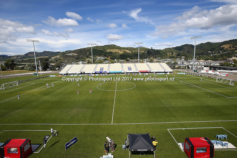 General view of Trafalgar Park, in the Stirling Sports Premiership football match between Nelson Pine LVL Tasman United v Canterbury United, Trafalgar Park, Nelson, New Zealand, Sunday, January 8, 2017. © Copyright photo: Evan Barnes / www.photosport.nz