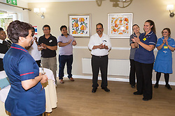 Care UK's Franklin House care home in West Drayton, London, has been awarded a Two Years Pressure Prevention Award from North West London NHS Foundation, in collaboration with Hillingdon TVN Team and Hillingdon CCG. Luxmi from TVN Team and Hillingdon CCG addresses the team at Franklin House ahead of handing over the trophy London, July 11 2019.