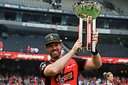 17th February 2019, Marvel Stadium, Melbourne, Australia; Australian Big Bash Cricket League Final, Melbourne Renegades versus Melbourne Stars; Dan Christian of the Melbourne Renegades celebrates the Melbourne Renegades BBL 08 win with the trophy