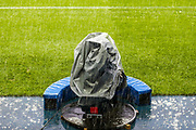A tv camera showing the torrential rain in the Madejski Stadium ahead of the EFL Sky Bet Championship match between Reading and Fulham at the Madejski Stadium, Reading, England on 1 October 2019.