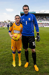 Match mascot with favourite player Lewis Price (WAL) of Mansfield Town - Photo mandatory by-line: Rogan Thomson/JMP - 07966 386802 - 03/05/2014 - SPORT - FOOTBALL - Memorial Stadium, Bristol - Bristol Rovers v Mansfield Town - Sky Bet League Two. (Note: Mansfield are wearing a Rovers spare kit having forgotten their own).