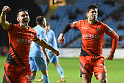 Wycombe Wanderers defender Joe Jacobson (3) scores a penalty and celebrates 2-2 during the EFL Sky Bet League 2 match between Coventry City and Wycombe Wanderers at the Ricoh Arena, Coventry, England on 22 December 2017. Photo by Alan Franklin.