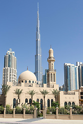 New mosque and view of Burj Khalifa in Downtown Dubai United Arab Emirates