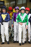 Jockeys leave weighing-in room at Ascot Racecourse, Berkshire, England, United Kingdom