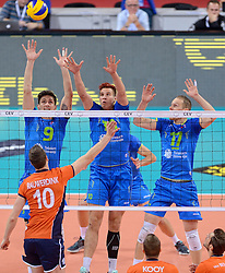 Jeroen Rauwerdink #10, Dejan Vincic #9, Jan Kozamernik #10, Tine Urnaut #17 during volleyball match between National teams of Netherlands and Slovenia in Playoff of 2015 CEV Volleyball European Championship - Men, on October 13, 2015 in Arena Armeec, Sofia, Bulgaria. Photo by Ronald Hoogendoorn / Sportida