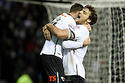 Derby County forward Chris Martin hugs goal scorer Derby County forward Andreas Weimann during the Sky Bet Championship match between Derby County and Cardiff City at the iPro Stadium, Derby, England on 21 November 2015. Photo by Aaron Lupton.