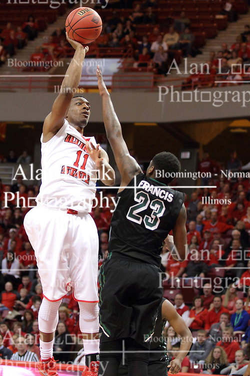 18 March 2015:  MiKyle McIntosh takes a one hander over the reach of Daeshon Francis  during an NIT men's basketball game between the Green Bay Phoenix and the Illinois State Redbirds at Redbird Arena in Normal Illinois