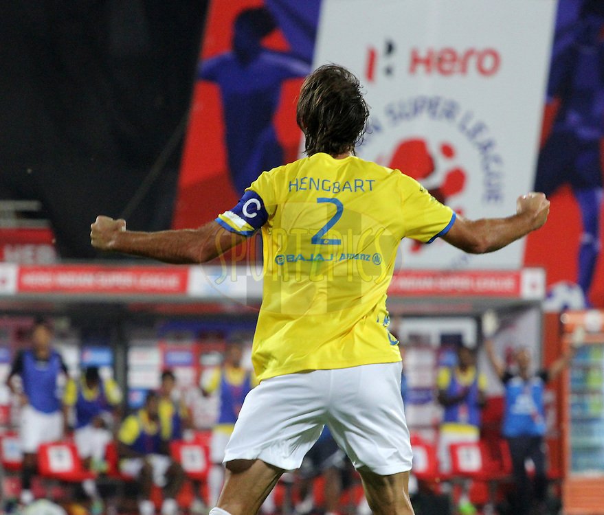 Cedric Hengbart of Kerala Blasters FC celebrates a goal during match 17 of the Hero Indian Super League between FC Pune City and Kerala Blasters FC held at the Shree Shiv Chhatrapati Sports Complex Stadium, Pune, India on the 30th October 2014.<br /> <br /> Photo by:  Vipin Pawar/ ISL/ SPORTZPICS