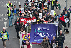 © Licensed to London News Pictures. 18/02/2017. Bristol, UK. Protest march and rally against cuts to local services and job losses proposed by Bristol City Council to meet the gap in local authority funding caused by the reduction in Government funding to local authorities. The event was organised by Bristol & District Anti-Cuts Alliance. Campaigners are calling on Bristol's elected mayor Marvin Rees, not to implement the cuts. Photo credit : Simon Chapman/LNP