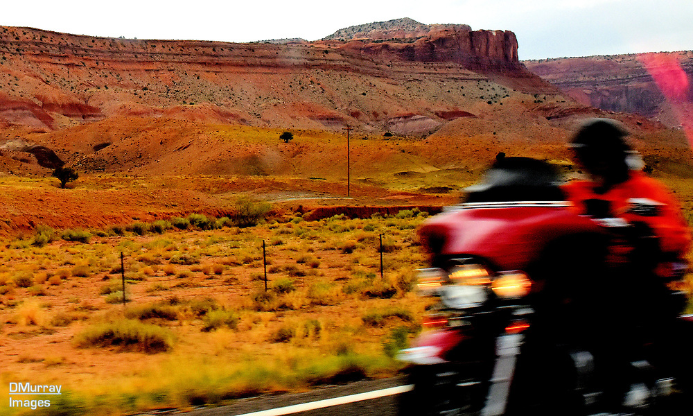 Motorcycle, Route 143, Monument Valley, Arizona, USA