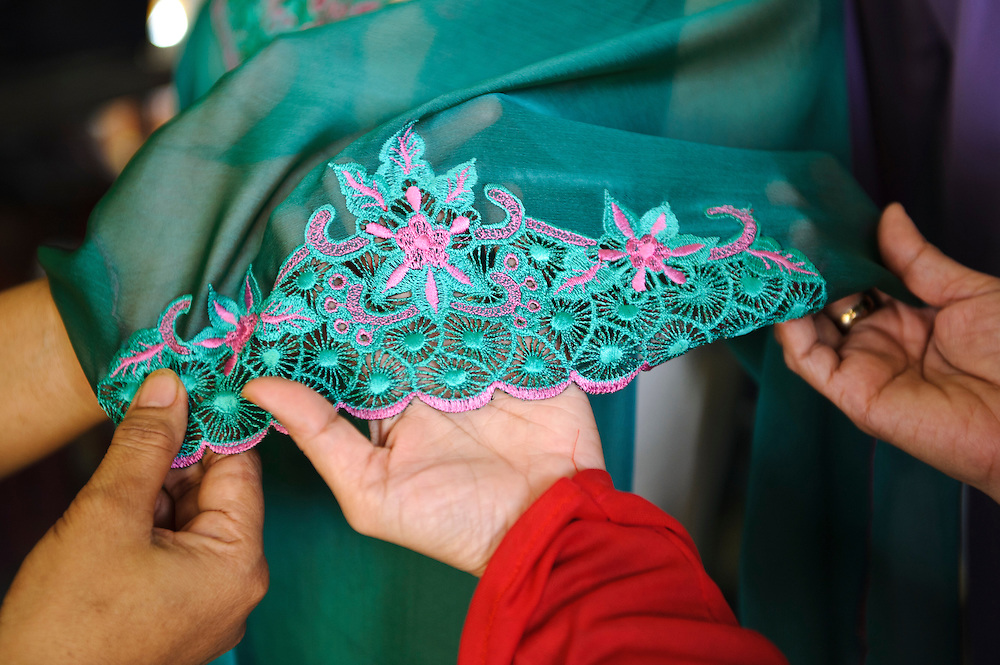 Traditional fabric produced at a women's collective, Makassar, Sulawesi, Indonesia.