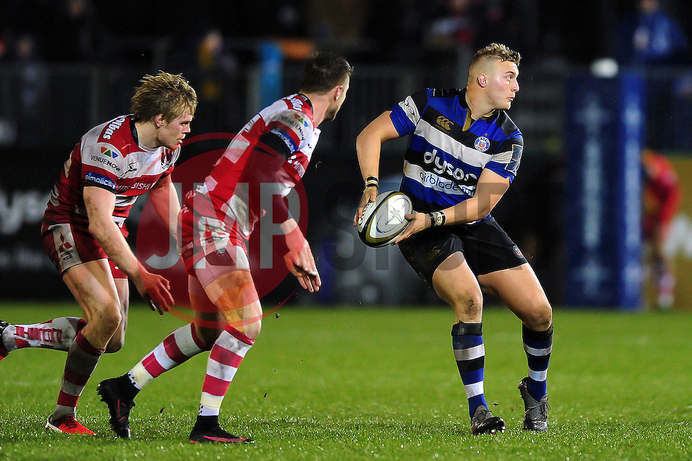Jack Walker of Bath Rugby looks to pass the ball - Mandatory byline: Patrick Khachfe/JMP - 07966 386802 - 27/01/2017 - RUGBY UNION - The Recreation Ground - Bath, England - Bath Rugby v Gloucester Rugby - Anglo-Welsh Cup.