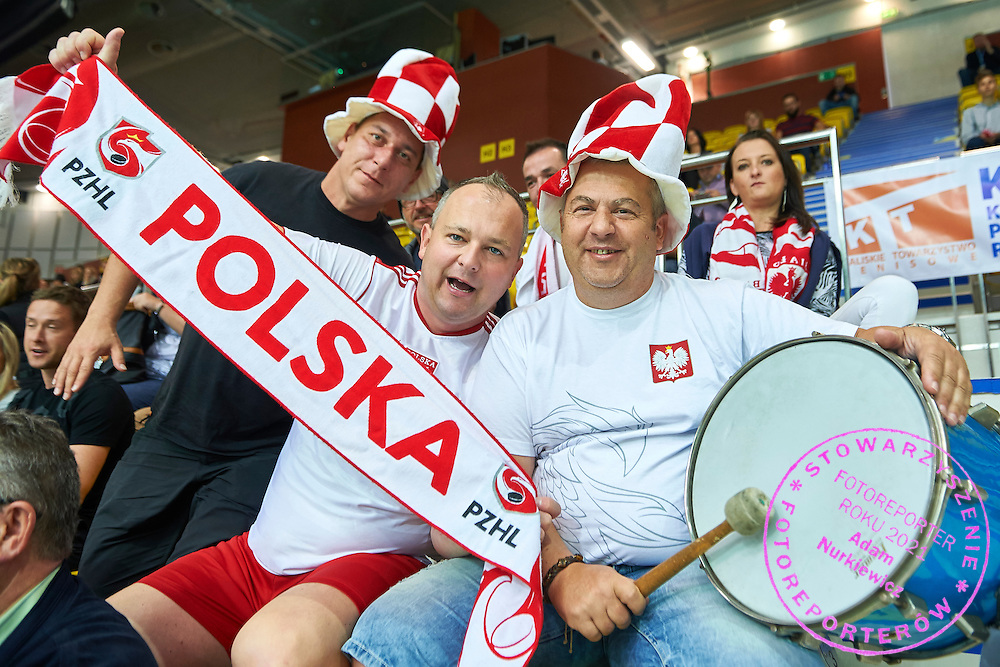 Supporters of Poland during Davis Cup Tie World Group Play-off Poland v Slovakia at Gdynia Arena Hall in Gdynia, Poland.<br /> <br /> Poland, Gdynia, September 20, 2015<br /> <br /> Picture also available in RAW (NEF) or TIFF format on special request.<br /> <br /> For editorial use only. Any commercial or promotional use requires permission.<br /> <br /> Adam Nurkiewicz declares that he has no rights to the image of people at the photographs of his authorship.<br /> <br /> Mandatory credit:<br /> Photo by &copy; Adam Nurkiewicz / Mediasport