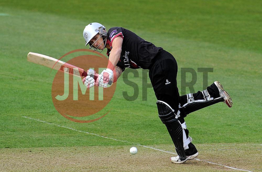 Somerset's James Regan flicks the ball.  - Photo mandatory by-line: Harry Trump/JMP - Mobile: 07966 386802 - 30/03/15 - SPORT - CRICKET - Pre Season Fixture - T20 - Somerset v Gloucestershire - The County Ground, Somerset, England.