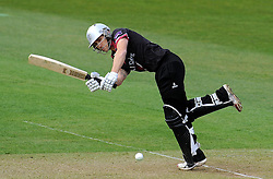 Somerset's James Regan flicks the ball.  - Photo mandatory by-line: Harry Trump/JMP - Mobile: 07966 386802 - 30/03/15 - SPORT - CRICKET - Pre Season Fixture - T20 - Somerset v Gloucestershire - The County Ground, Somerset, England.