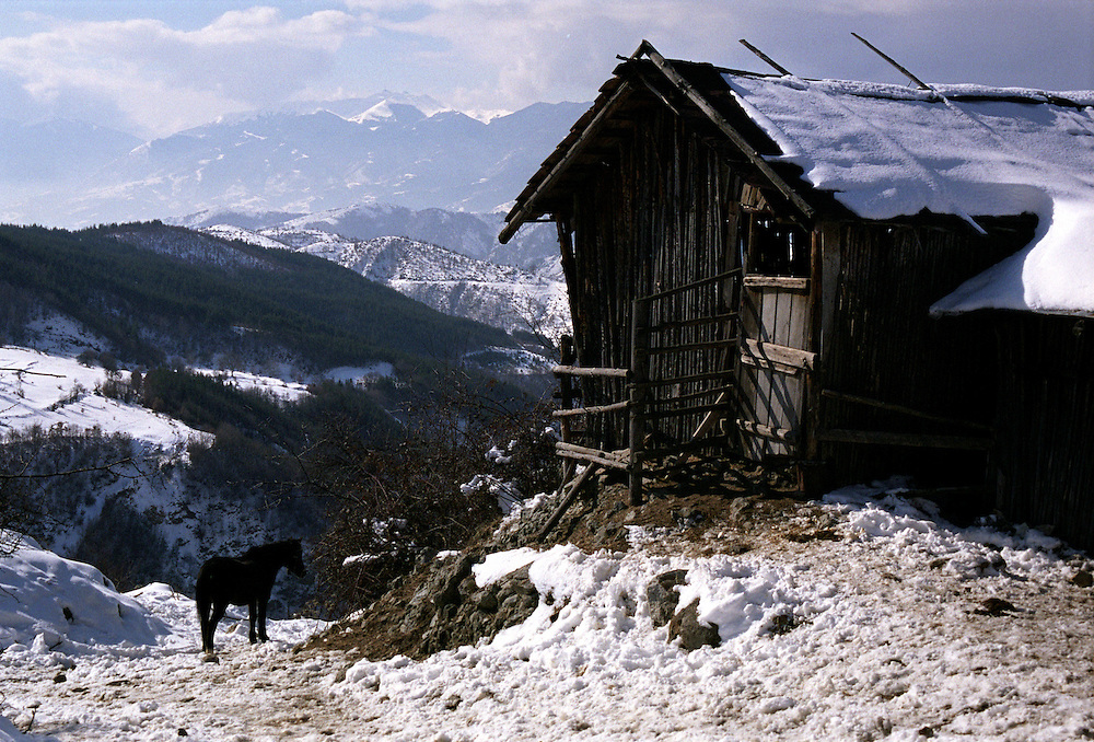 Snow over the hills and mountains on the outskirst of ribnovo.