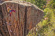 "Lisa Hathaway climbing ""Crush the Skull"" rated 12+, Mill Creek Canyon Utah."