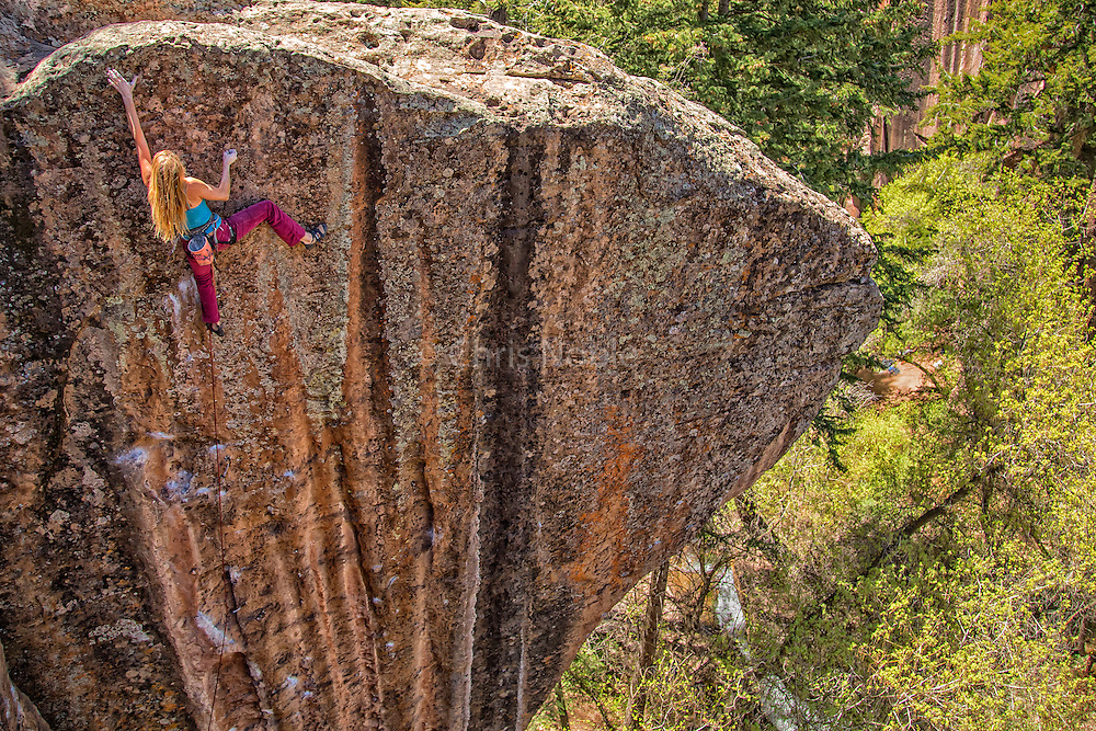 "Lisa Hathaway climbing ""Crush the Skull"" rated 12+, Mill Creek Canyon Utah."
