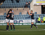 16th September 2017, Dens Park, Dundee, Scotland; Scottish Premier League football, Dundee versus St Johnstone; Dundee's A-Jay Leitch-Smith who scored two goals applauds the fans at full time