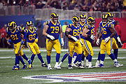 The Los Angeles Rams offense breaks from a huddle and heads to the line of scrimmage during the NFL Super Bowl 53 football game against the New England Patriots on Sunday, Feb. 3, 2019, in Atlanta. The Patriots defeated the Rams 13-3. (©Paul Anthony Spinelli)