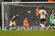 Adrian Colunga of Brighton and Hove Albion scores the opening goal against Fulham from the penalty spot during the Sky Bet Championship match at Craven Cottage, London<br /> Picture by David Horn/Focus Images Ltd +44 7545 970036<br /> 29/12/2014